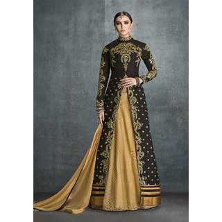 Ladyview Black  Beige Embroidered Banglori Sik Anarkali Suit