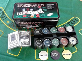 Poker Set 200 Pcs Chips+ 2 Decks of Playing Card Casino in Tin Case