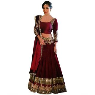 beautiful maroon party lehenga