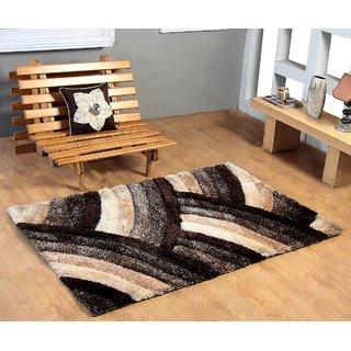 4D Polyester Shaggy Carpet - 4 feet X 6 feet, Multicolour