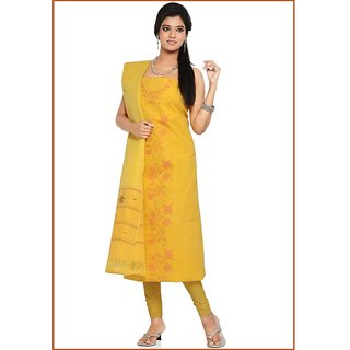 Fashion Unstitched Yellow Cotton Handloom Churidar Suit