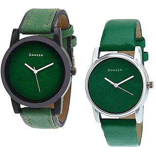 Danzen Analog Leather Watches for Lovely Couple -dz-418-426