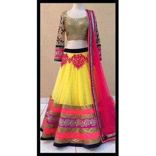 Latest Yellow And Pink Latest Georgette Lehenga Choli