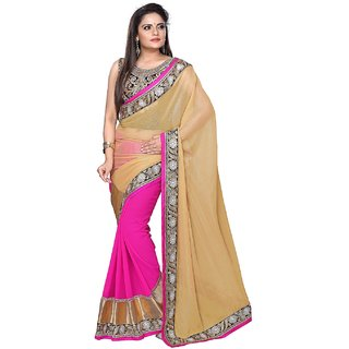 SuratTex Beige Chiffon Embroidered Saree With Blouse
