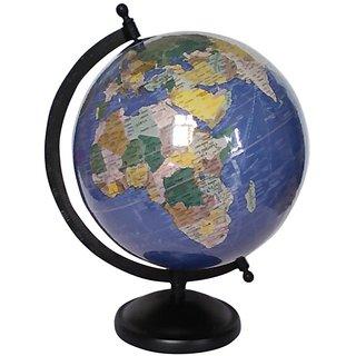 Blue Laminated World Globe With Metal Base
