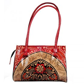 ZintGenuine Leather Shoulder Bag Purse Handbag Tote Bag Pure Leather Shantiniketan Boho Ethnic Batik Design Red