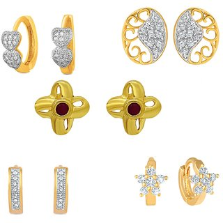 Mahi Gold Plated Charming Stud  Bali combo with Ruby  CZ For Women CO1104547G