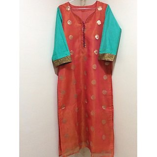 AMERA orange turquoise tissue kurta
