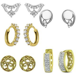 Mahi Gold  Rhodium Plated Curl Rounds Stud  Bali combo with CZ For Women CO1104549M