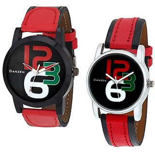 Danzen Analog Leather Watches for Lovely Couple -dz-421-431