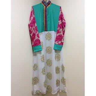 AMERA turquoise silk chiffon kurta