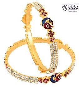 Sukkhi Gold Plated Meenakri Peacock Ad Stone Bangles