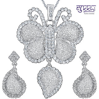 Sukkhi Rhodium Plated AD Pendant Set - Option 2