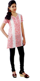 Red Rose Peach Lucknowi Chikan Top Hand Embroidered