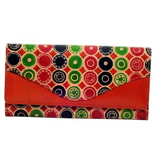 Zint Hand Tooled Painted Real Leather Shantiniketan Boho Women's Wallet Clutch Purse Colorful / Gift for Her