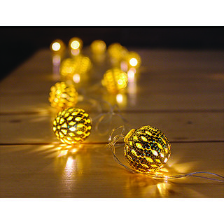 20 LED Pattern Cut-Out Luxury Gold Metal Ball Diwali Decor String Lights Gifting Lights Fairy Lights