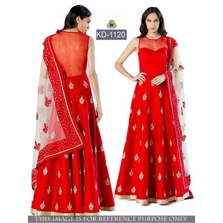 Buy Banglori Taffeta Silk Net Red Long Gown