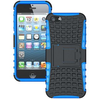 Style Imagine Kick Stand Hard Dual Armor Hybrid Rubber  Back Case Cover for  iPhone 5, iPhone 5s - Blue