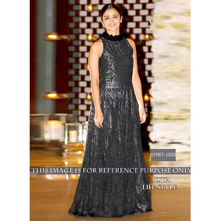 Alia Bhatt Black Net  Cotton Bollywood Gown