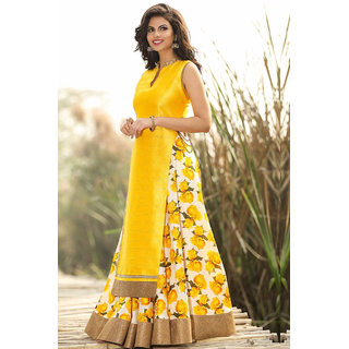Fabliva Yellow Printed Bhagalpuri Lehenga Dress Mateirial