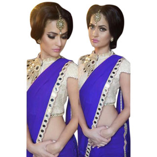 SuratTex Blue Georgette Lace Saree With Blouse