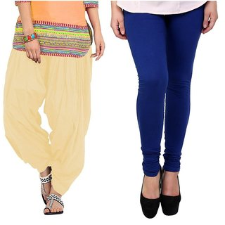 Stylobby Blue Legging and Beige Patiala Salwar Combo Of 2