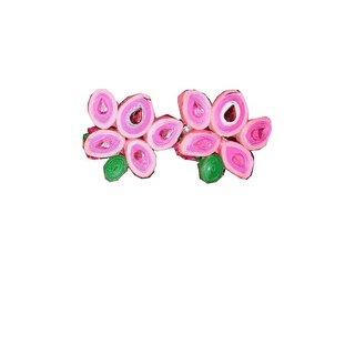 Gold Foil flower with three layer Earring for women