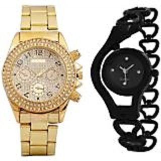 TRUE COLORS BEST COUPLE COMBO OFFER GOLD BLACK FANCY GIFT FOR SPECIAL Analog Watch - For Girls  Boys  Men  Women