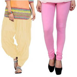 Stylobby Pink Legging and Beige Patiala Salwar Combo Of 2