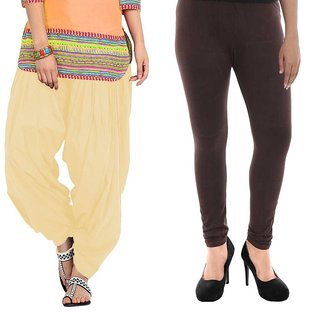 Stylobby Brown Legging and Beige Patiala Salwar Combo Of 2