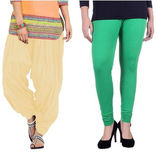 Stylobby Green Legging Beige Patiala Salwar Combo Of 2