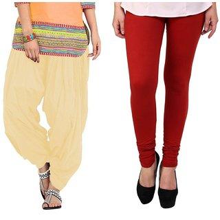 Stylobby Maroon Legging Beige Patiala Salwar Combo Of 2