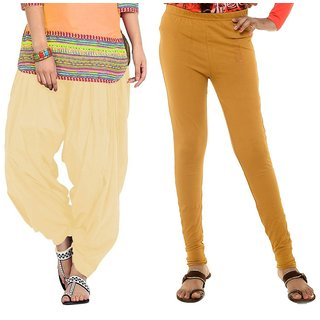 Stylobby Mustard Legging Beige Patiala Salwar Combo Of 2