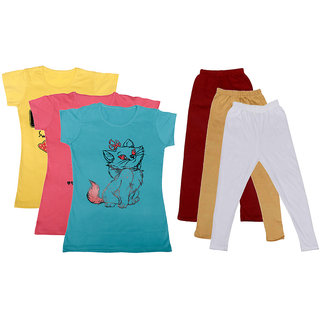 Indistar Girls Cotton T-Shirts With Cotton Leggings (Pack of 3 T-Shirts 3 Leggings)YellowPinkBlueMaroonBeigeWhite30