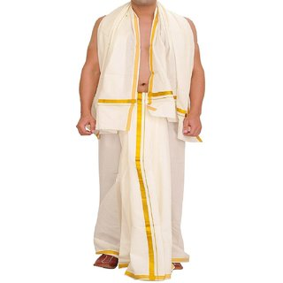 Indianpasand White Cotton Dhoti and Angavastram For Men(Size9x5)