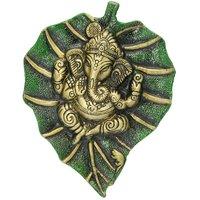 Naysha Arts Lord Ganesha On Green Leaf