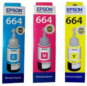 Epson 664 For L100/L200/L210/L220/L300/L350/L500 T6642-C, T6643-M, T6644-Y, Original Ink  (Cyan, Magenta, Yellow)