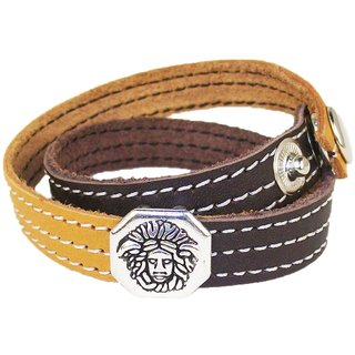 Sakhi Styles men's handmade genuine leather bracelet double wrap with metal charm adjustable size with metal stud closer