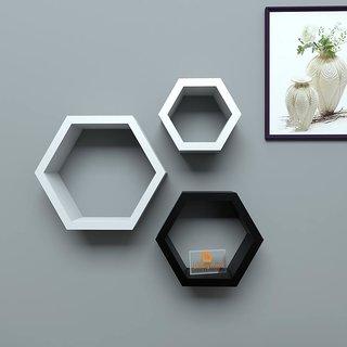 Driftingwood Wall Shelf Rack Hexagon Shape Storage Shelves Set Of 3 White Black