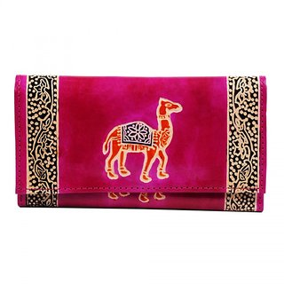 ZINT Tooled Painted Real Leather Shantiniketan Boho Camel Design Womens Wallet Clutch Purse/ Gift for Boho Lovers / Fest