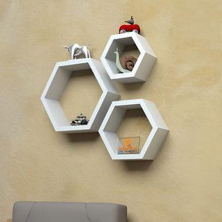 Driftingwood Wall Shelf Rack Hexagon Shape Storage Shelves Set Of 3 White