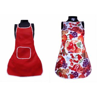 Elegance Multicolor Fruits / SolidGraphical Design Waterproof  Raxin 2 Aprons Set ( 2WAPN-013 )