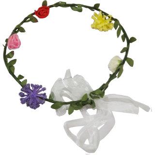Beautiful Handmade Multicolor Floral Hair Tiara/Crown for Girls Women