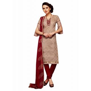Pushty Fashion Brown and Maroon Embroidered Chanderi Cotton Semistitched Salwar Kameez