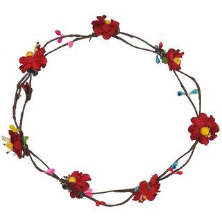 Stylish Handmade Red Floral Hair Tiara/Crown for Girls Women