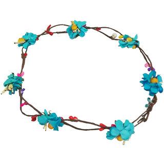 Modish Handmade Light Blue Floral Hair Tiara/Crown for Girls Women