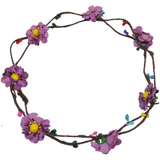 Trendy Handmade Purple Floral Hair Tiara/Crown for Girls Women
