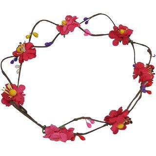 Fashionable Handmade Pink Floral Hair Tiara/Crown for Girls Women
