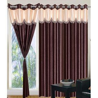 Panipat Textile Hub BROWN 4U Polyster Eyelet Door Curtains Set Of 2 Size 4x7 PT
