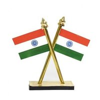 Double sided indian flag for car dashboard